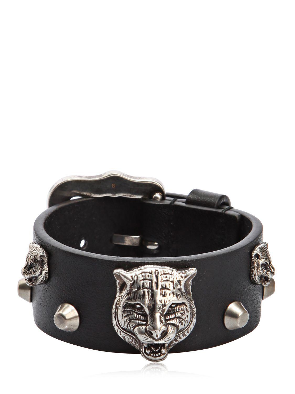 5e60d8a43e54ac Gucci Tiger Head Leather Bracelet in Black for Men - Lyst
