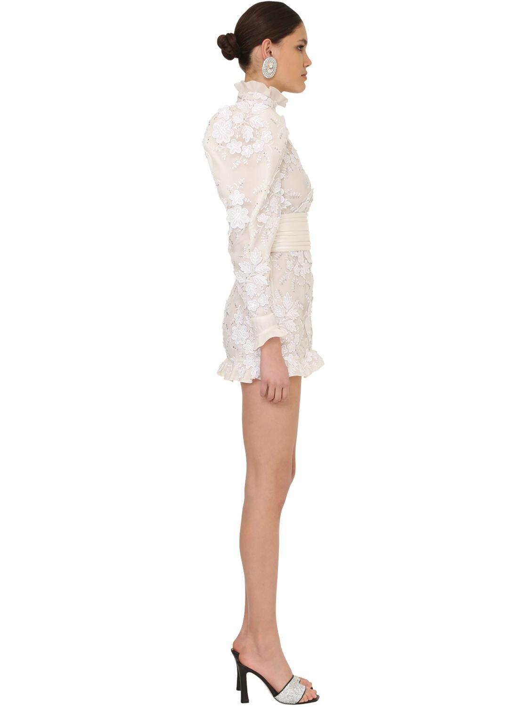 Vestido Mini De Tul Con Decoraciones Alessandra Rich de Tul de color Blanco
