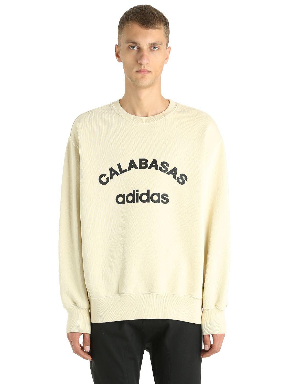 Sweat-shirt en coton imprimé adidas