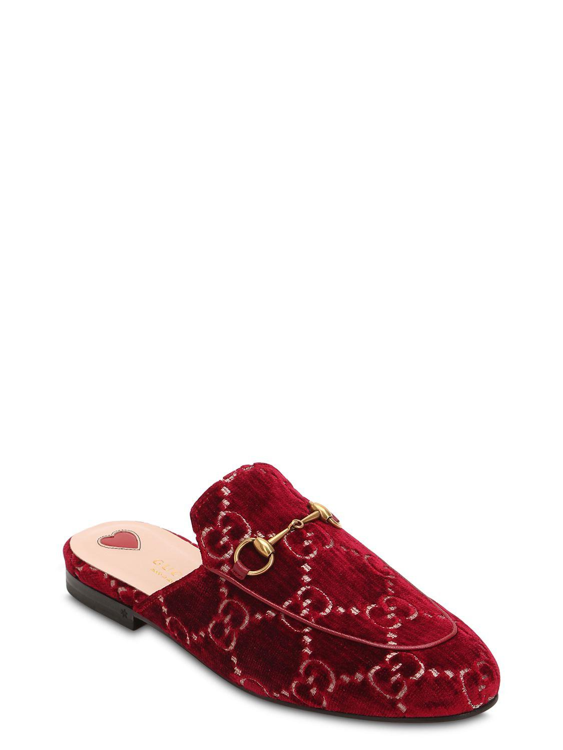2d215295924 Lyst - Gucci 10mm Princetown Gg Supreme Velvet Mules in Red