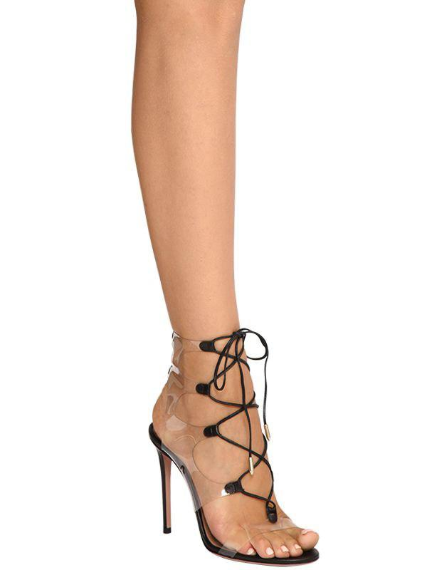 dbbd5485a00 Aquazzura - Black 105mm Milos Leather   Plexi Sandals - Lyst. View  fullscreen