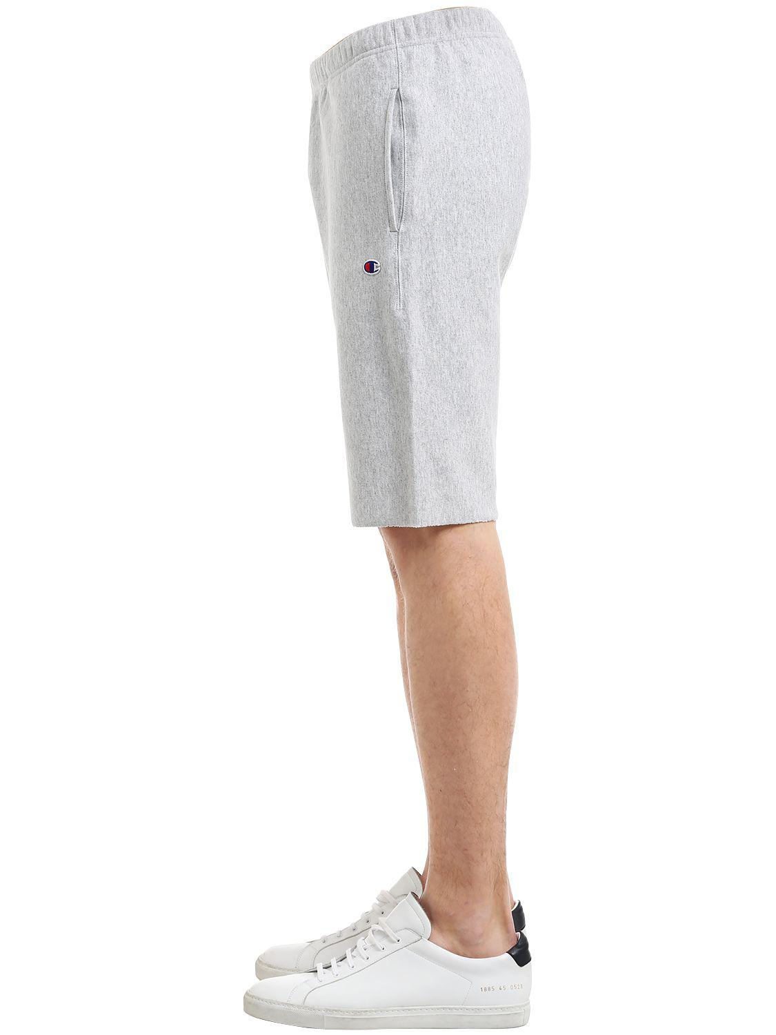 36817535f0e4 Lyst - Champion Logo Detail Cotton Sweat Shorts in Gray for Men