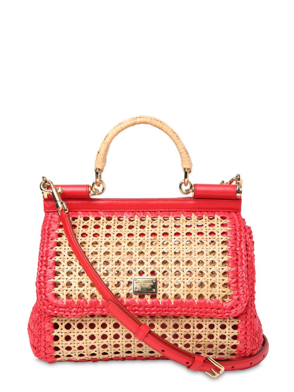 Lyst - Dolce   Gabbana Medium Sicily Raffia   Leather Bag in Red 2b258b9fee8f6