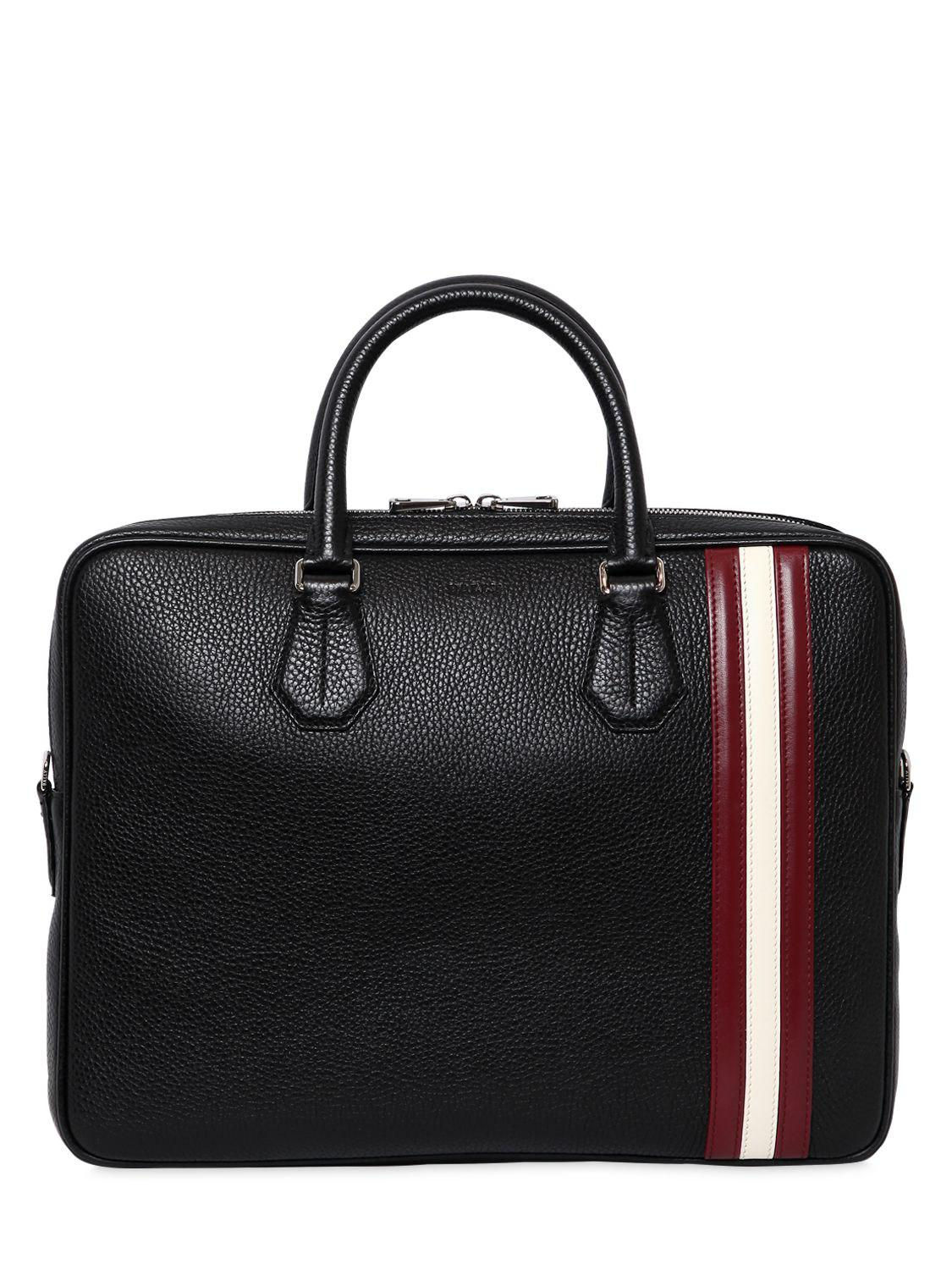 1cccd755cdef Bally Striped Pebbled Leather Briefcase in Black for Men - Lyst