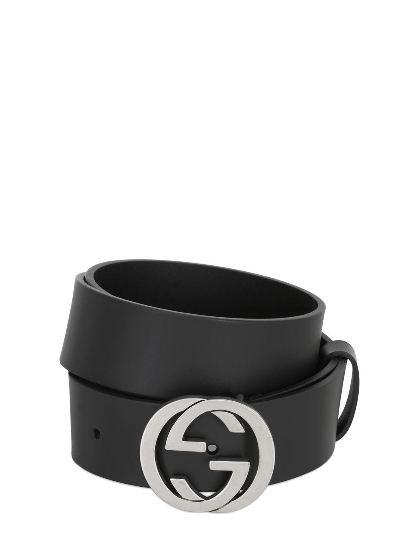 8fe6767aee8 Lyst - Gucci 37mm Interlocking G Buckle Leather Belt in Black for ...