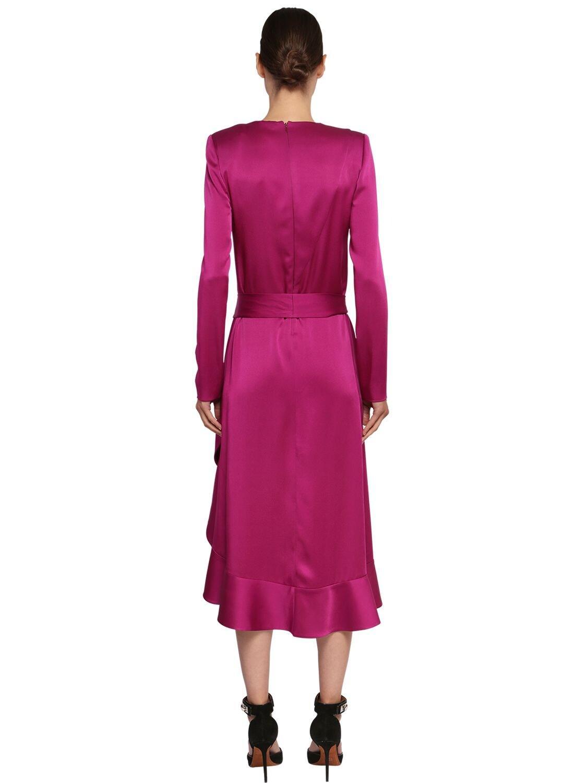 Robe En Crêpe De Satin À Volants Givenchy en coloris Violet