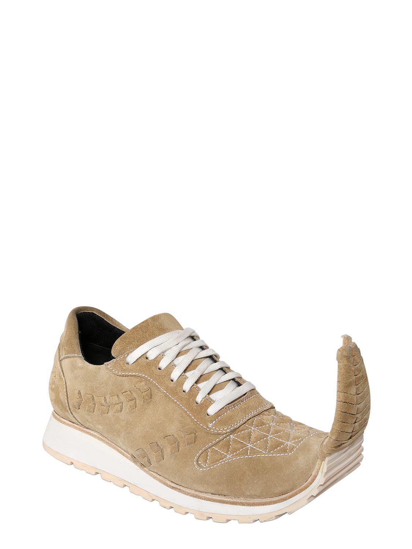 Loewe 20mm Pointed Suede Sneakers in