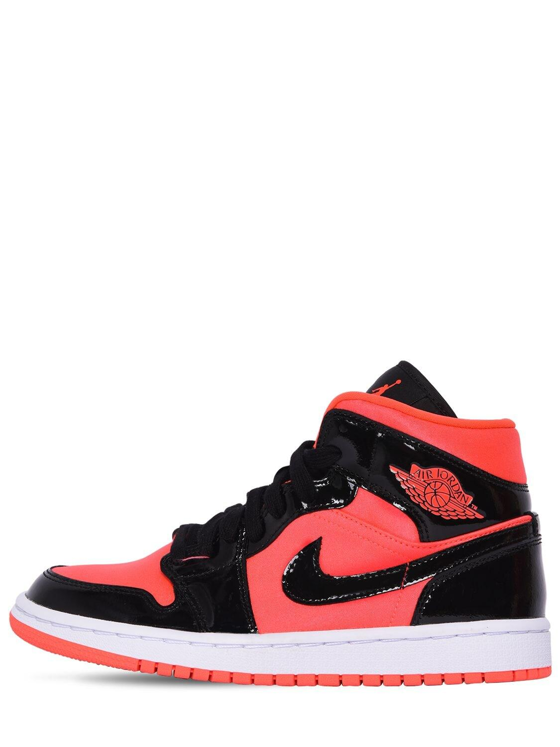 Nike Leather Wmns Air Jordan 1 Mid Sneakers in Bright Crimson (Red ...