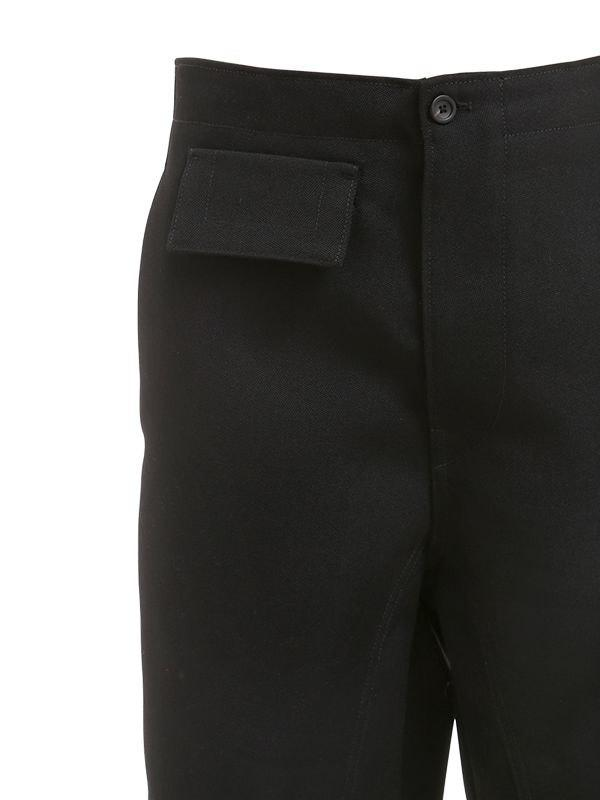 Bikkembergs 18cm Virgin Wool Pants W/ Flap Pockets in Black for Men