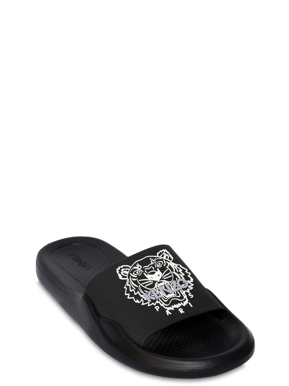45f52df42 KENZO 20mm Tiger Pool Slide Sandals in Black - Lyst