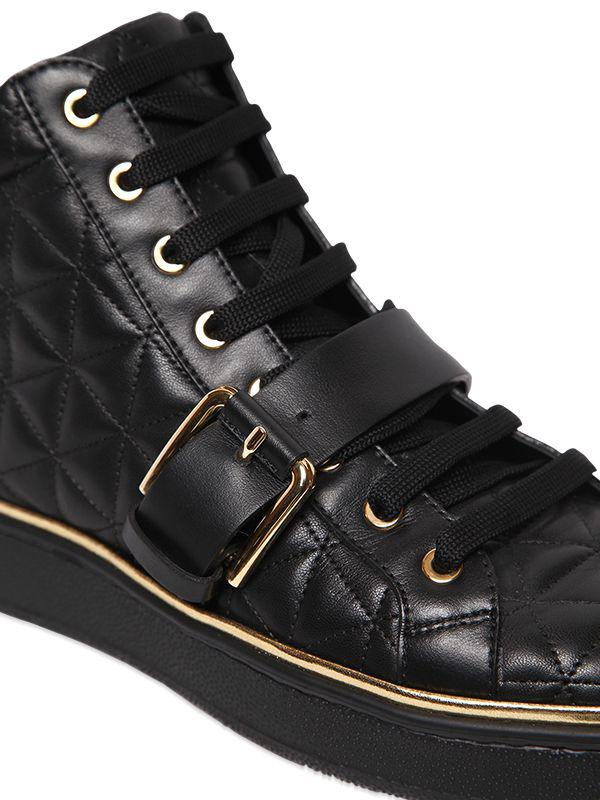 Balmain 20mm Active Quilted Leather Sneakers in Black