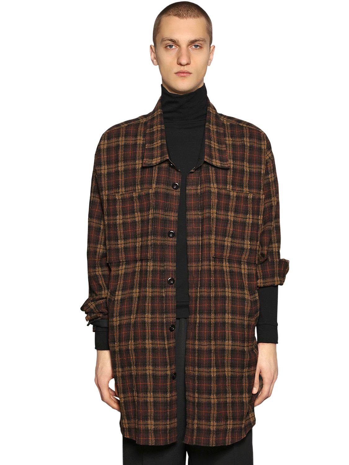 44416cae386d Lyst - Faith Connexion Oversize Wool Flannel Shirt in Brown for Men