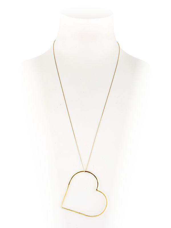 SeeMe Heart Movement Gold Plated Necklace in Metallic