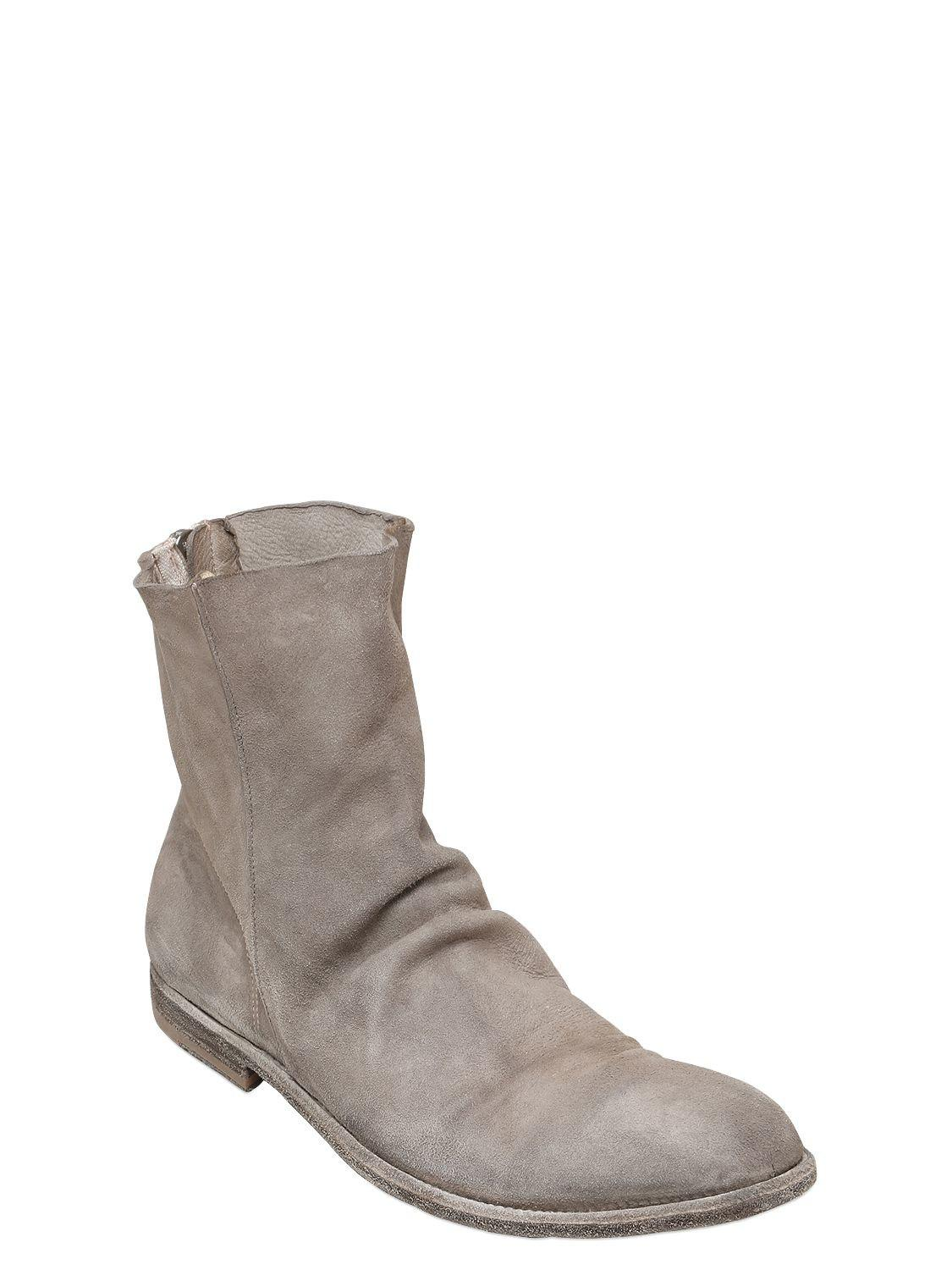 4d8048c2af94d Lyst - Officine Creative Washed Deerskin Leather Cropped Boots in Gray for  Men - Save 30%