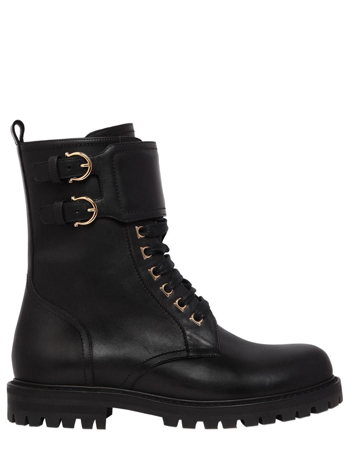 Ferragamo 30mm Crotone Leather Combat Boots In Black Lyst