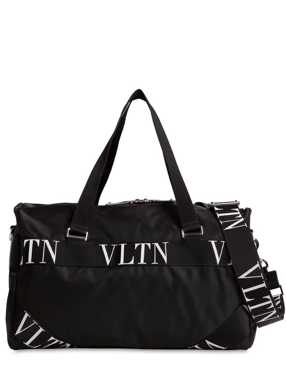 11cc15512760 Valentino - Black Small Vltn Logo Nylon Boston Bag for Men - Lyst. View  fullscreen