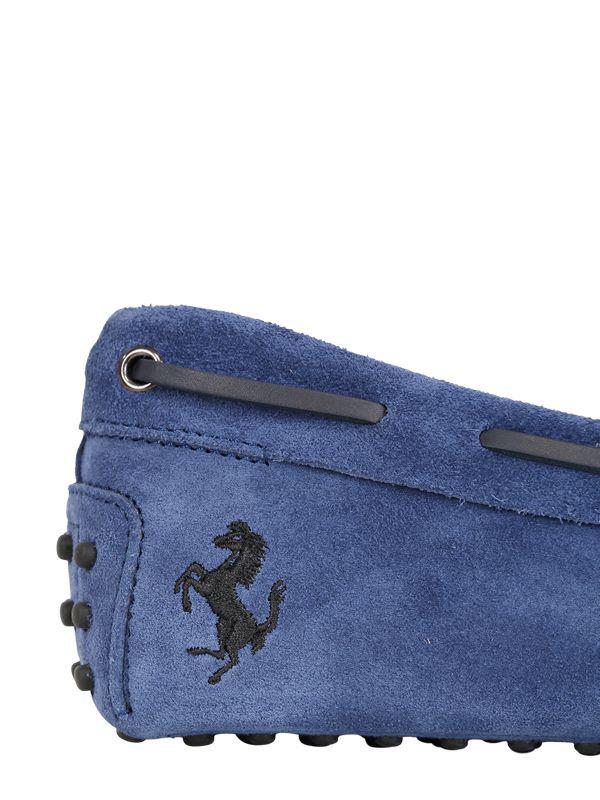 Tod's Gommino 122 Tie Suede Driving Shoes in Blue for Men