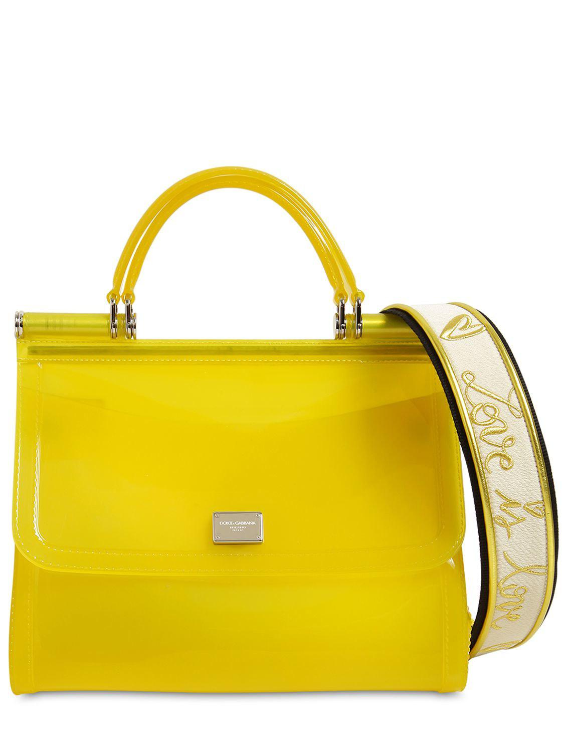 Dolce   Gabbana Sicily Faux Patent Leather Bag in Yellow - Lyst 0701e8bb110b3