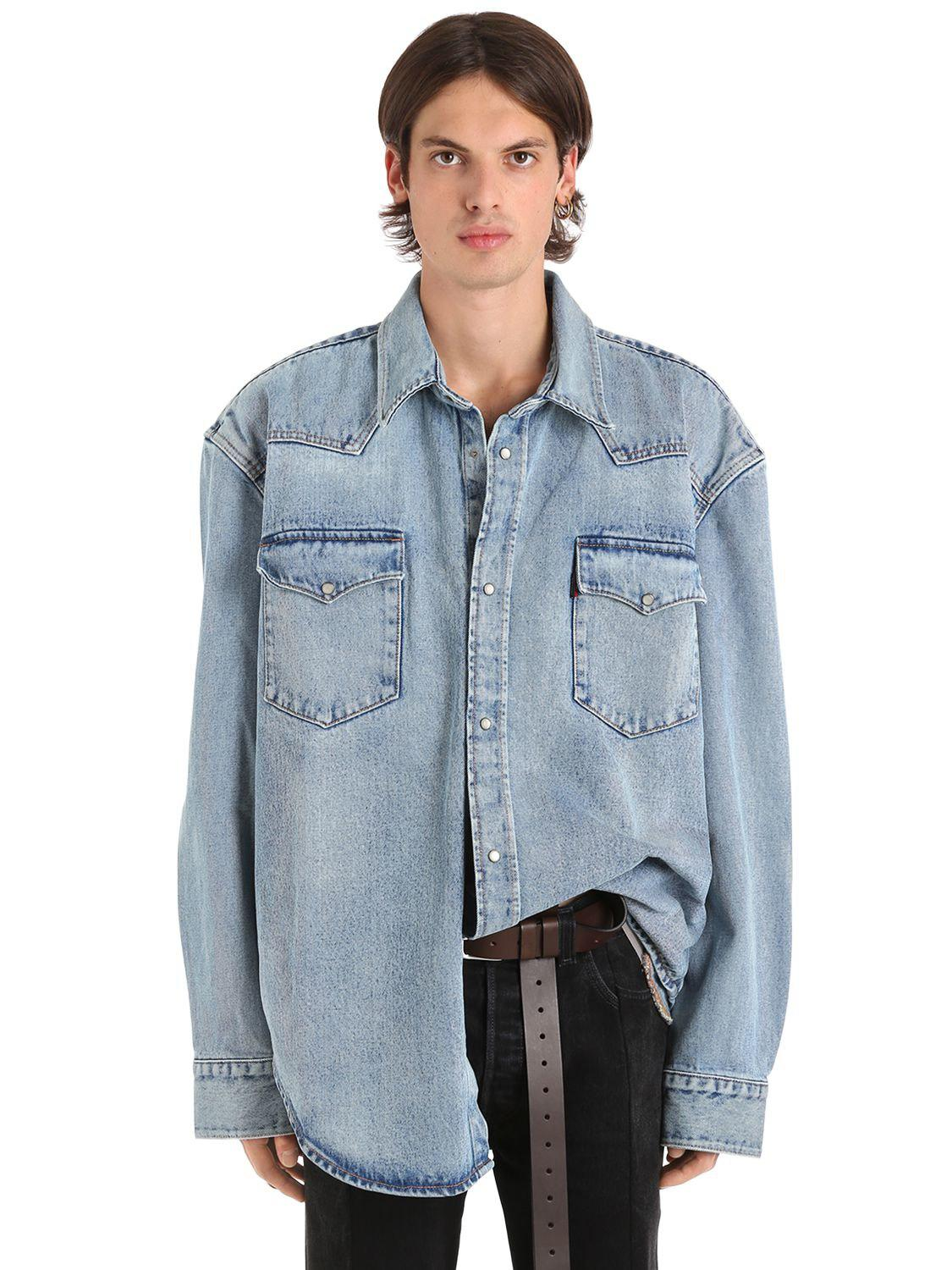a8d29b4fecf Lyst - Vetements Levi s Heavy Denim Oversized Shirt in Blue for Men