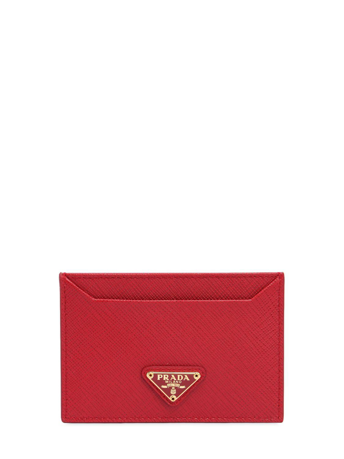 ea0665d7f7b6 Prada Saffiano Leather Card Holder in Red - Save 10.285714285714292 ...