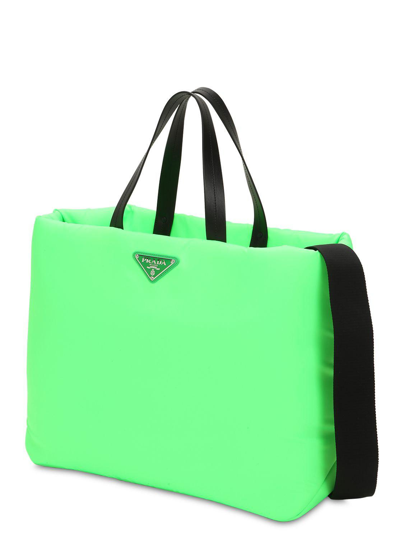 1e678a8daee0 Prada Puffer Nylon Tote Bag in Green - Lyst