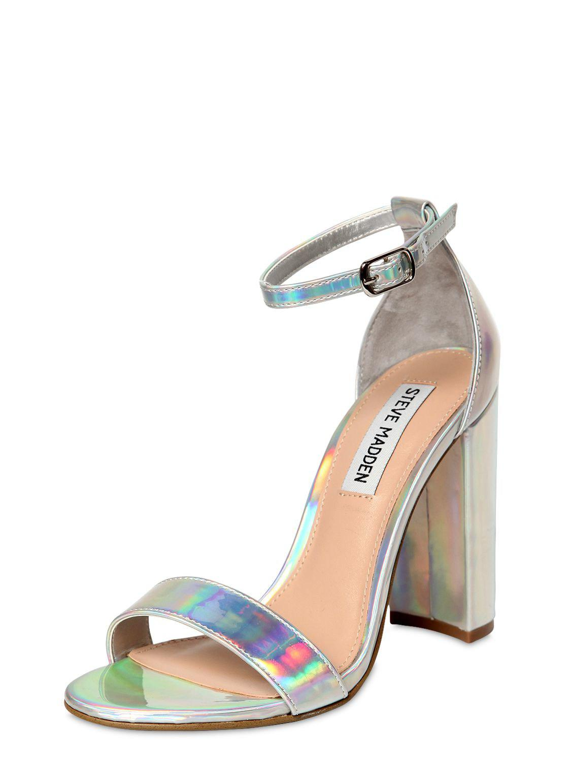 3715dcc15c2 Lyst - Steve Madden 100mm Carrson Iridescent Sandals in Metallic