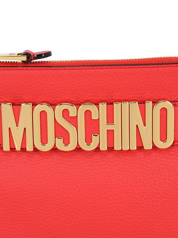 Lyst Moschino Logo Lettering Leather Pouch In Red
