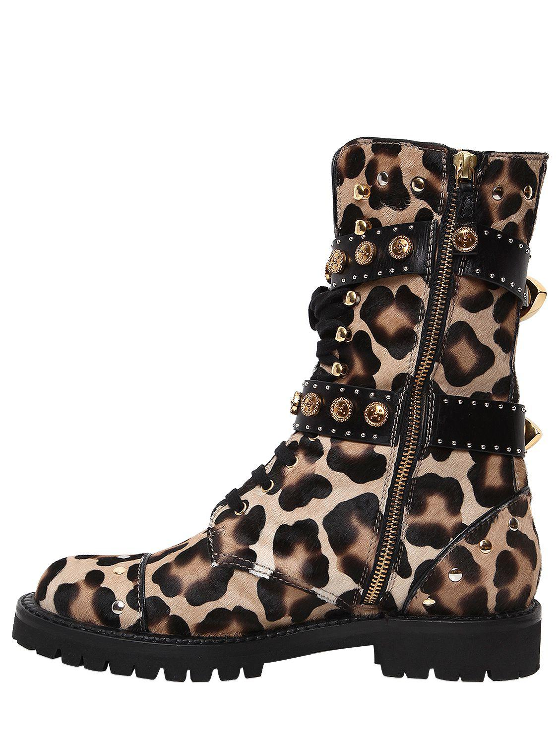Fausto Puglisi Leather 30mm Leo Printed Ponyskin Combat Boots in Leopard (Brown)