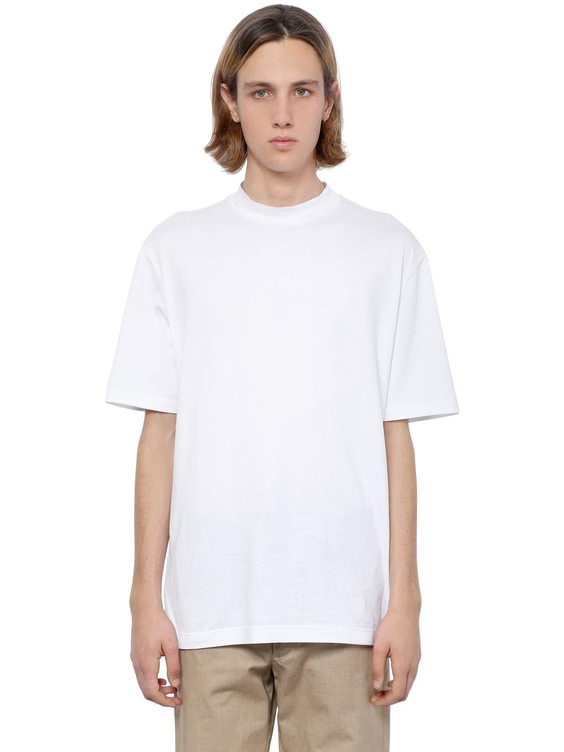 Lyst Lanvin Oversized High Collar Jersey T Shirt In White For Men