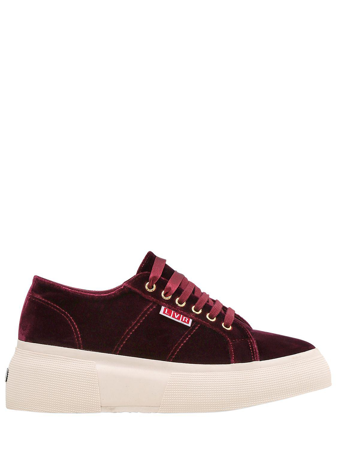 Superga. Women's Red Lvr Editions Velvet Platform Sneakers