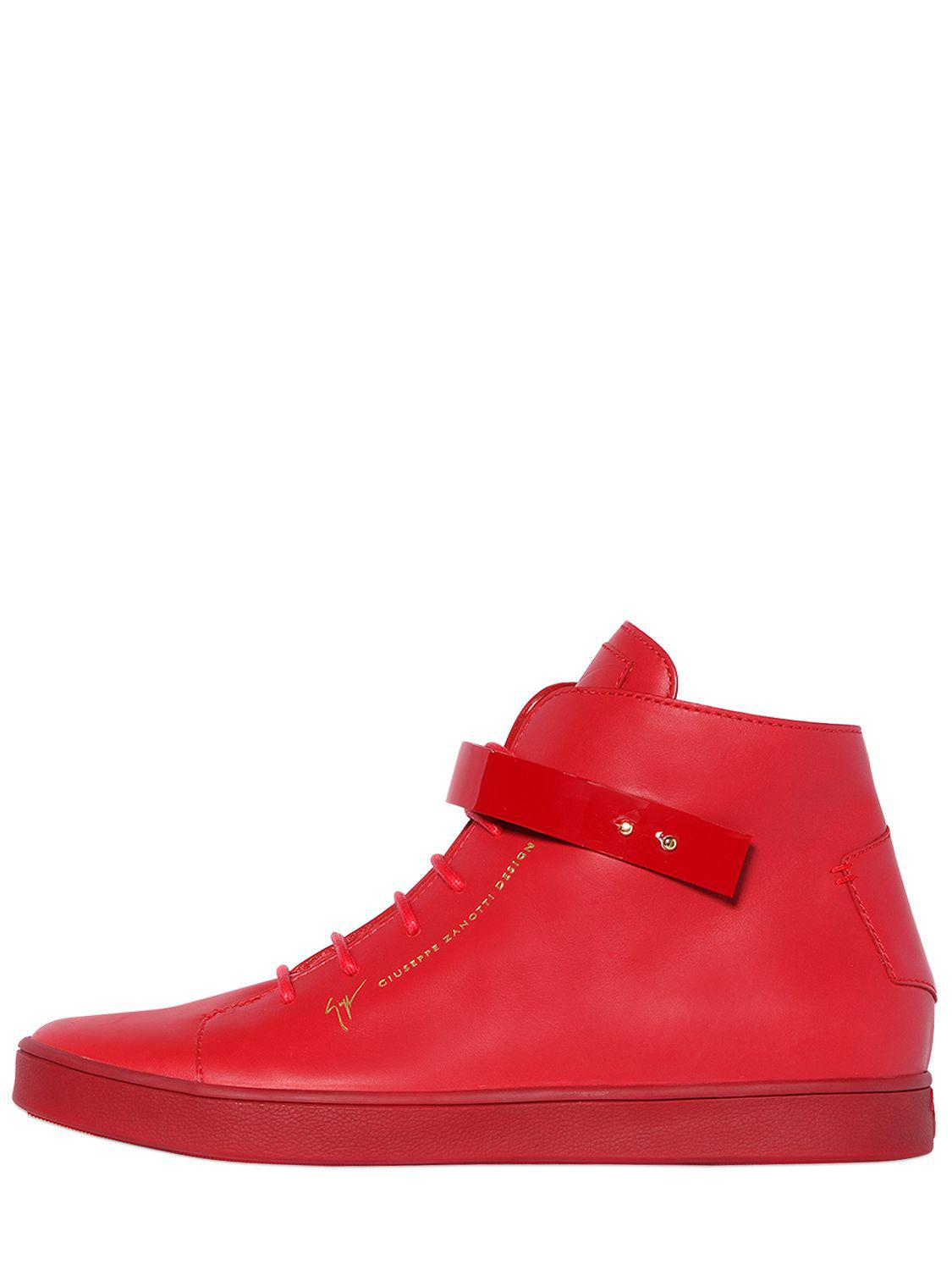 Giuseppe ZanottiPATENT BANGLE BRUSHED LEATHER SNEAKERS