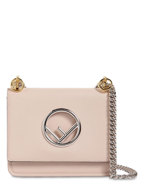 dd5f03120cad Fendi Small Kan I Logo Leather Shoulder Bag in Pink - Lyst