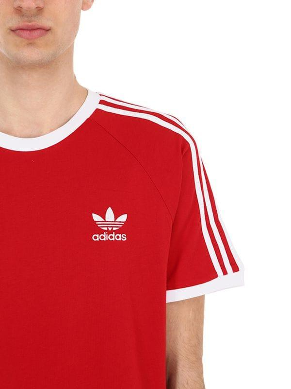 separation shoes 5b94e 30649 adidas Originals 3-stripes Cotton Jersey T-shirt in Red for