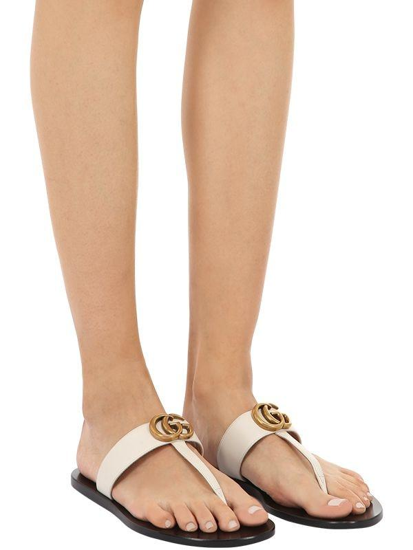 Gucci Leather Thong Sandals With Double