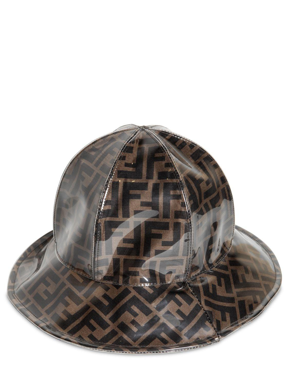 Lyst - Fendi Ff Logo Plastic Cover Silk Rain Hat in Black for Men 2c9ffac4c49