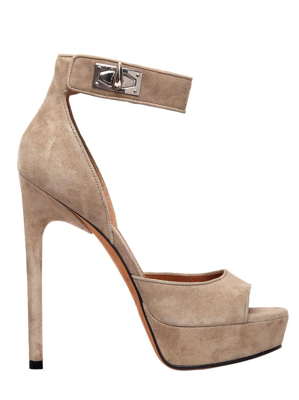 Shark Lock Suede Platform Sandals - Beige Givenchy Jnk4S
