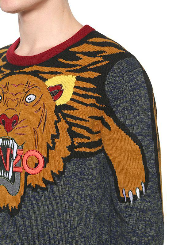 9e0720628 KENZO Tiger Intarsia Wool Knit Sweater in Gray for Men - Lyst