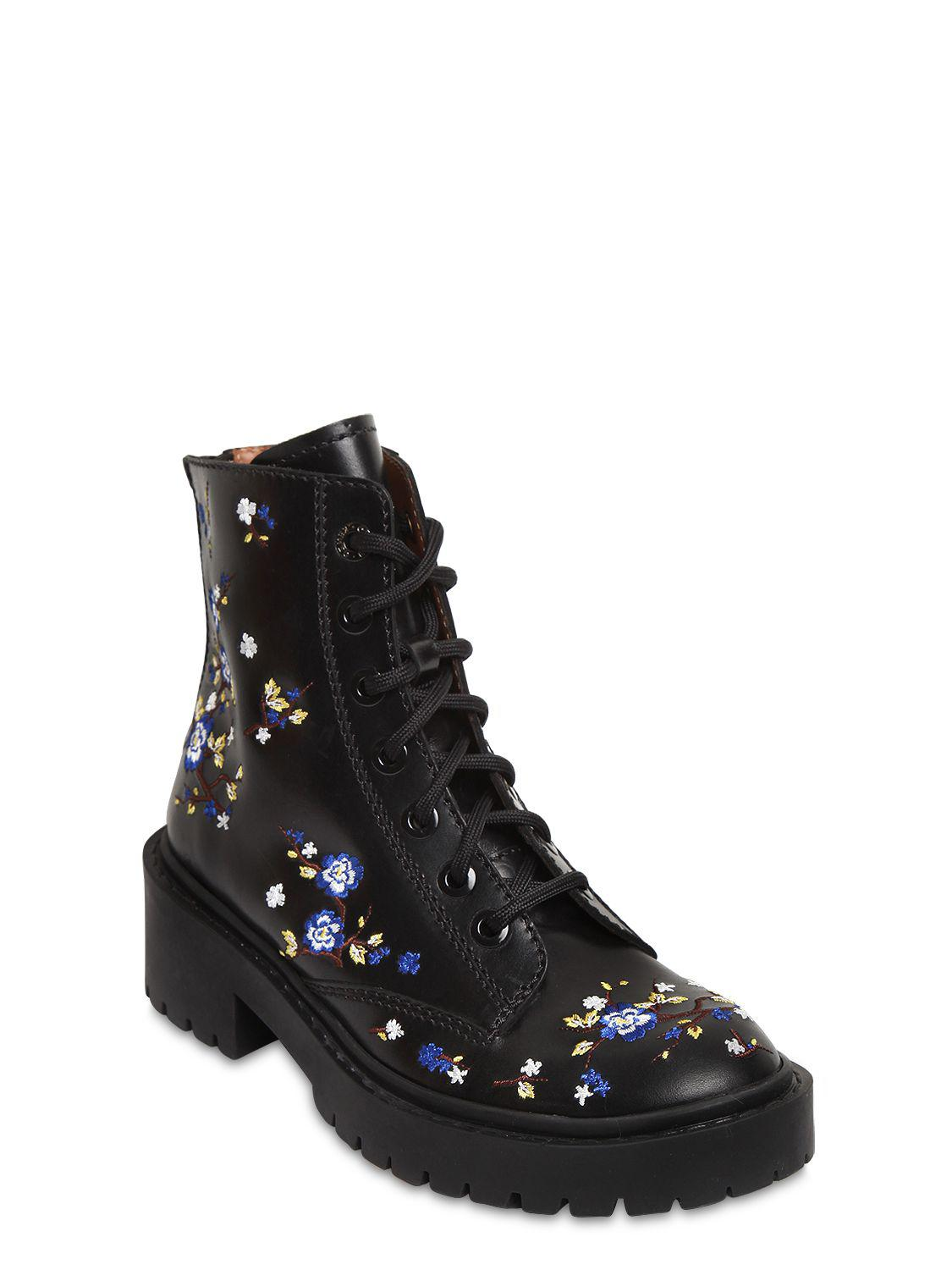 Kenzo 50MM FLORAL EMBROIDERED LEATHER BOOTS