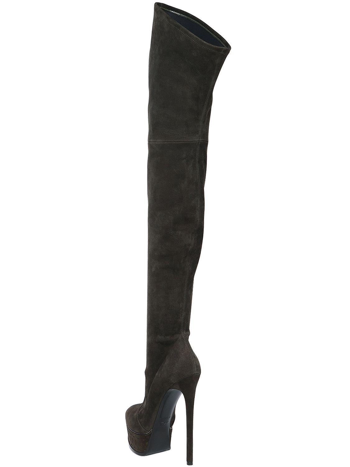Casadei 140mm Stretch Suede Over The Knee Boots in Military Green (Black)