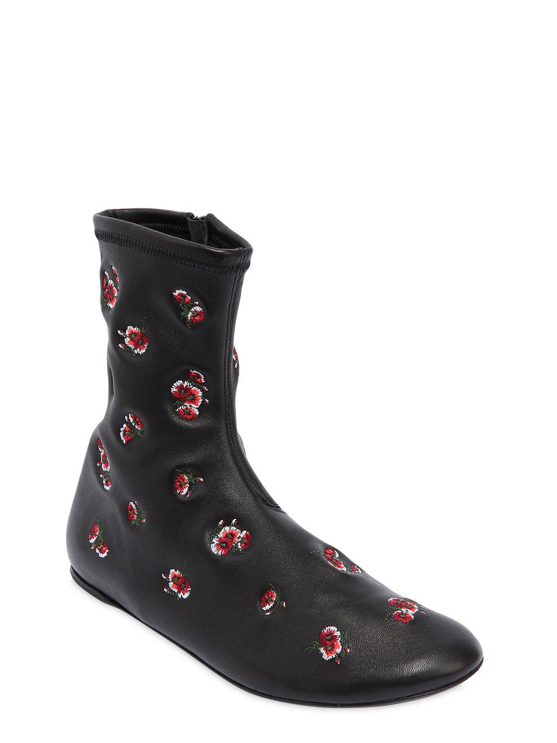 Fashionable Cheap Price Cheap Sale Deals Kenzo Leather boots with emrboidered flowers Purchase Sale Online dcMXA