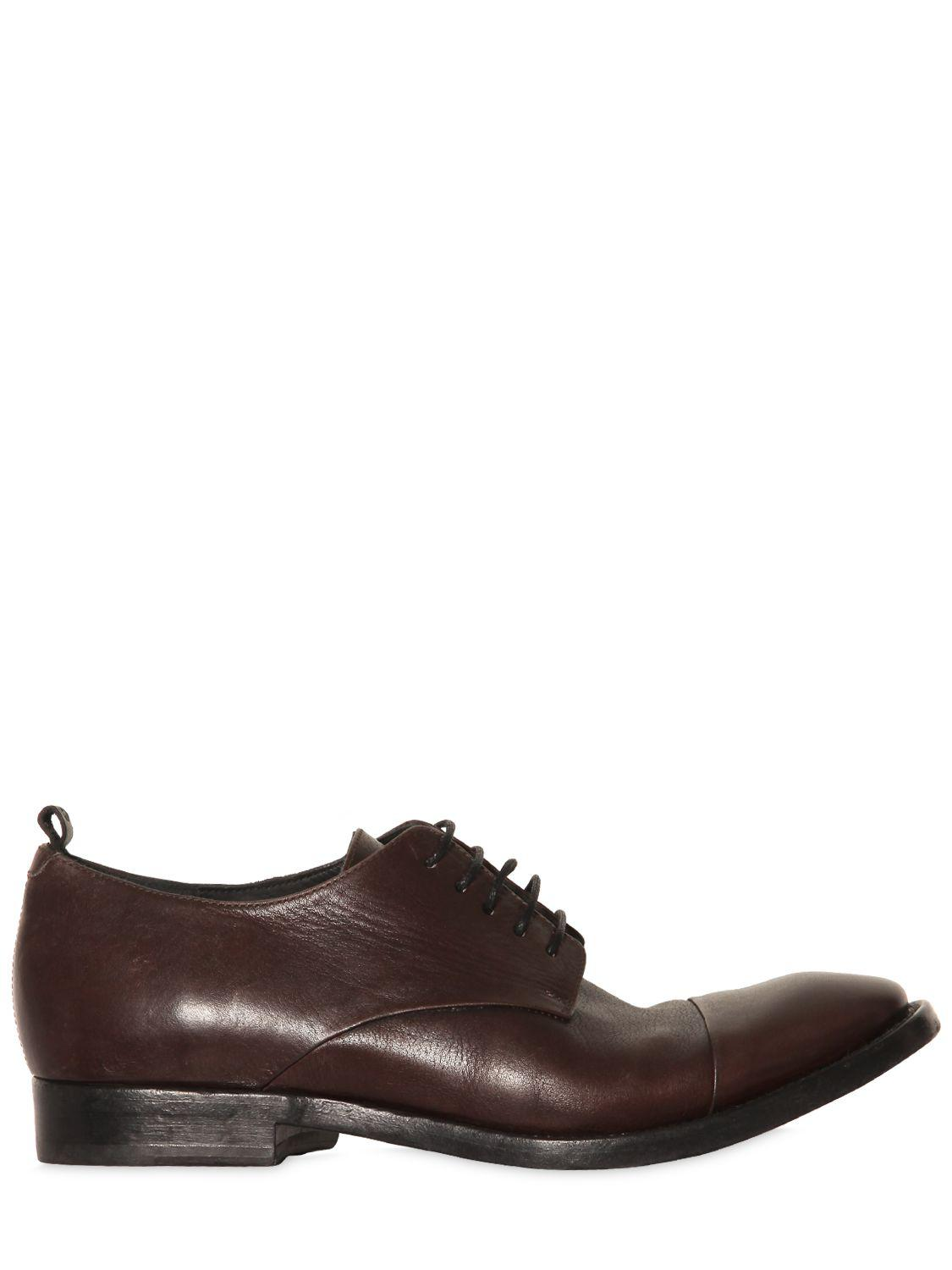ButteroWASHED LEATHER DERBY LACE-UP SHOES
