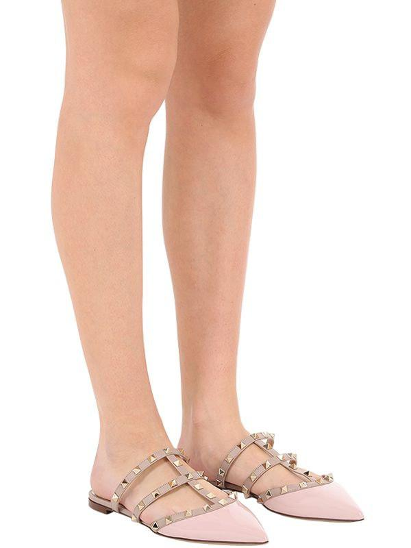 top design new images of really comfortable Valentino Leather 10mm Rockstud Nappa & Patent Mules in Rose (Pink ...