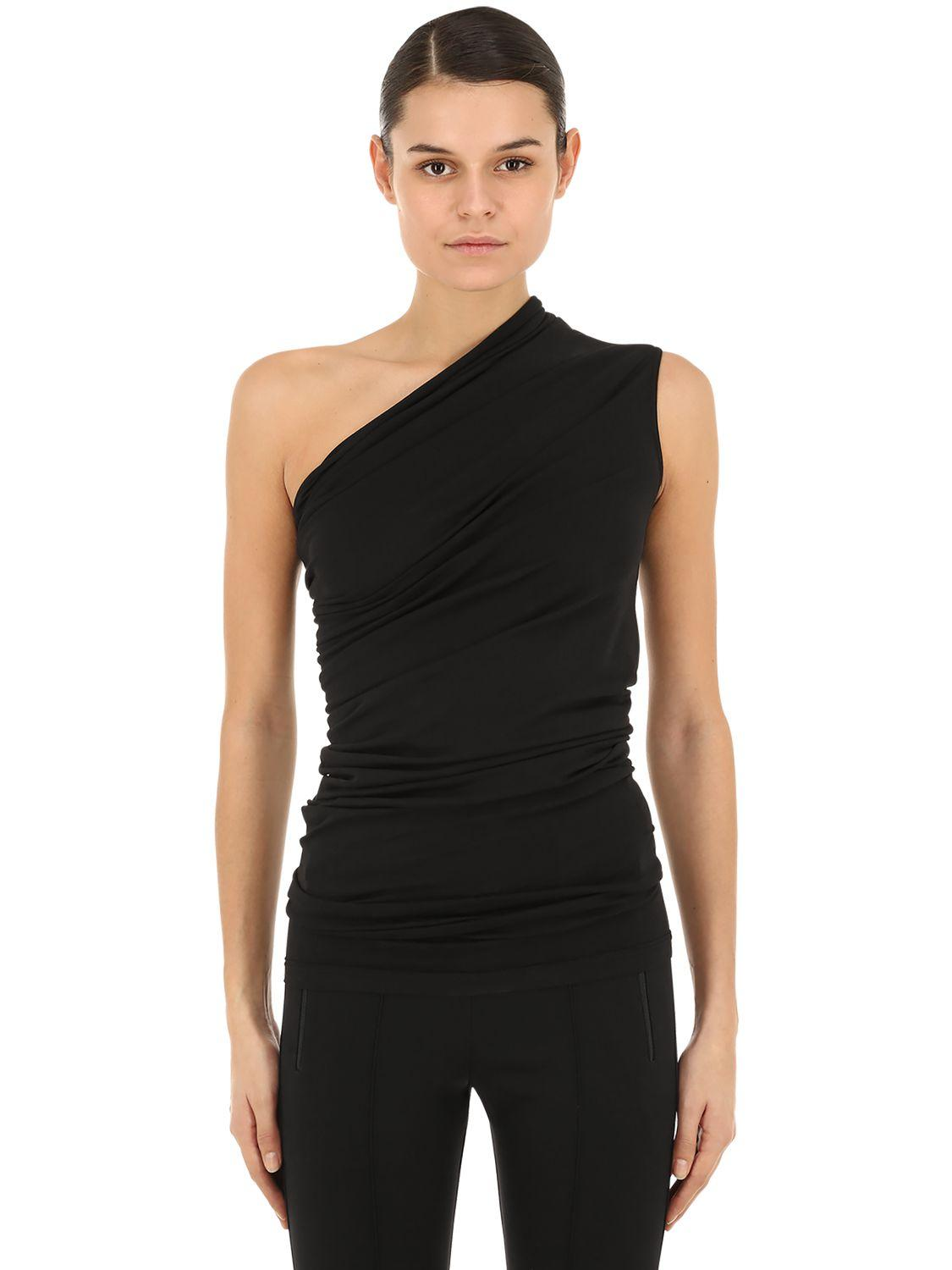 c3d0669c8efdf Lyst - Rick Owens One Shoulder Cotton Jersey Top in Black