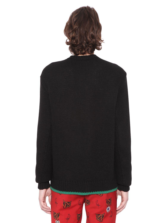 COACH Skull Jacquard Wool Blend Sweater in Black for Men