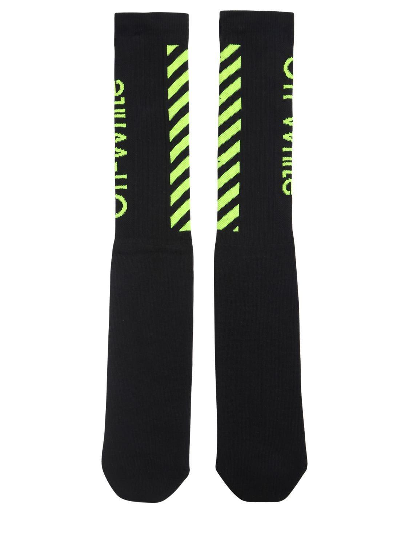 d1e9e0c26596 Off-White c o Virgil Abloh. Men s Black Diagonal Logo Cotton Blend Socks