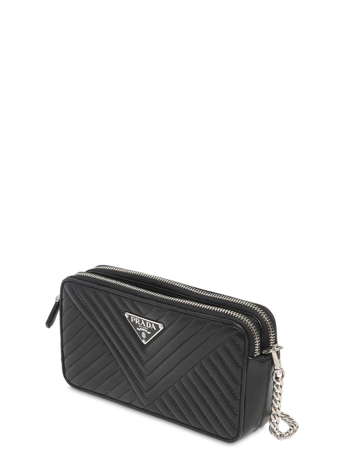 68e5a04bd178 Prada Quilted Nappa Leather Shoulder Bag in Black - Lyst
