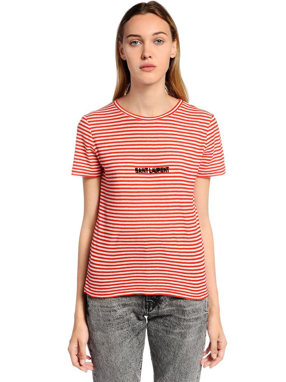 c58d6f9e Saint Laurent Logo Striped Cotton Jersey T-shirt in Red - Lyst