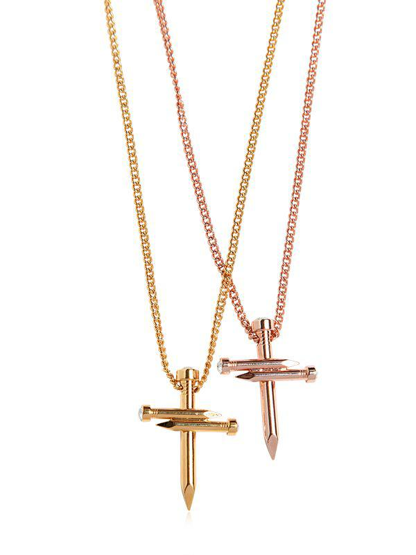 DSquared² Double Nail Crosses Necklace in Silver/Gold (Metallic)