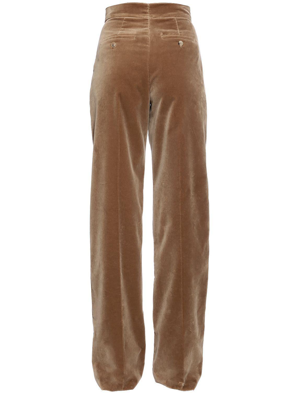 9d6ff73e7b5c8b Max Mara Velvet Palazzo Pants W/ Pleats in Brown - Lyst