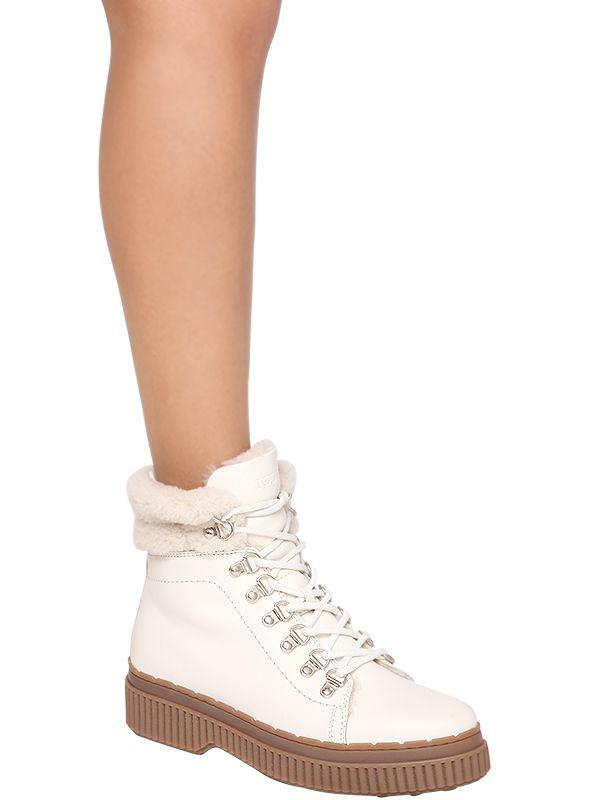 Tod's 30mm Shearling & Leather Hiking Boots in White